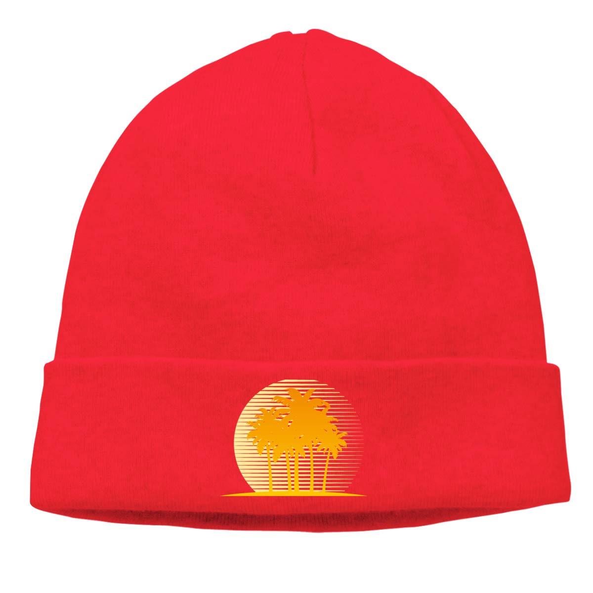 Riokk az Tropical Tree Skull Hats Knit Hats for Men Red
