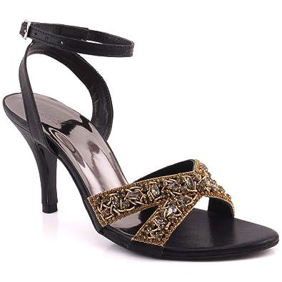 5f3e4d64036 Unze Women Maya Bling Bling Sparkle Diamante Ankle Strap Buckle Closure Heel  UK Size 3-
