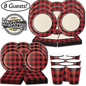 Amazon.com: Red and Black Party Supplies - Buffalo Plaid