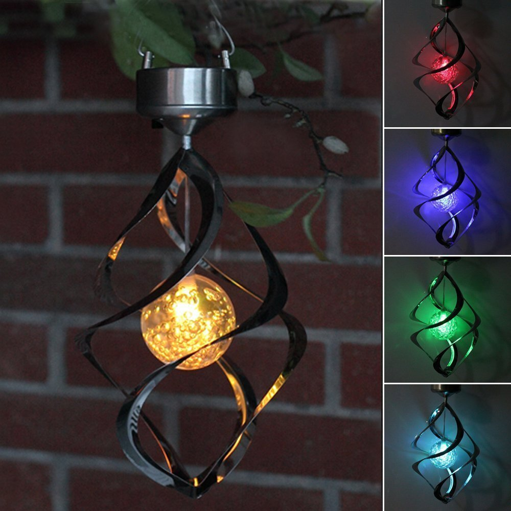 Solar Power LED Garden light Wind Chime Moving Rotating Hanging Lighting Lamp RGB Color changing for Garden, Tree ,Yard Wishlink