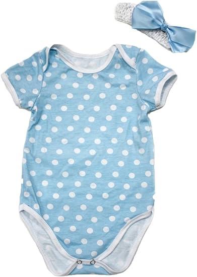 Petitebelle cumpleaños azul blanco lunares algodón Mono Body Bebé ...