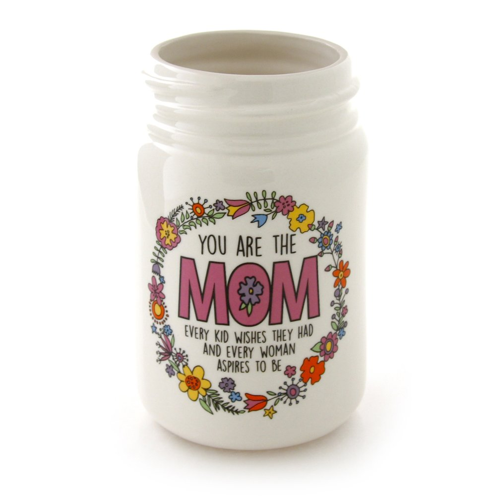 Enesco Our Name is Mud by Lorrie Veasey Mom Kid Wishes Mason Jar Vase, 6''
