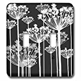 Anne Marie Baugh - Flowers - Contemporary Black, White, And Gray Dandelions - Light Switch Covers - double toggle switch (lsp_222388_2)