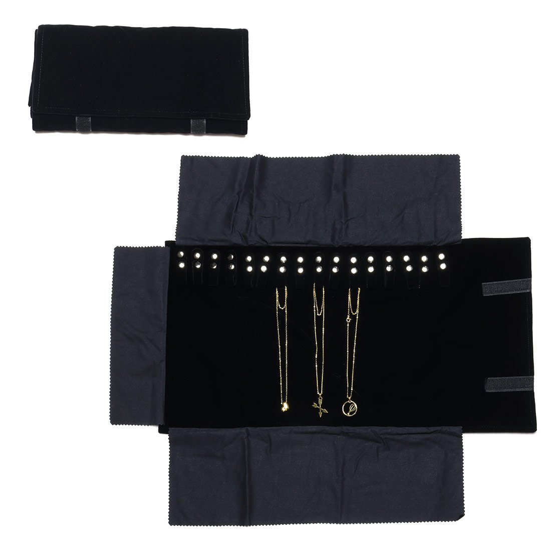 Travel Jewelry Case Black Velvet Roll Bag Jewelry Organizer for Necklaces