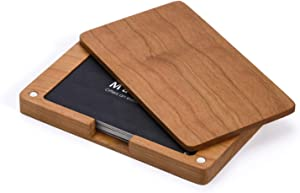 MaxGear Wood Business Card Holders Wood Business Card Case Wood Card Holder with Magnetic Closure for Women Men, Cherry