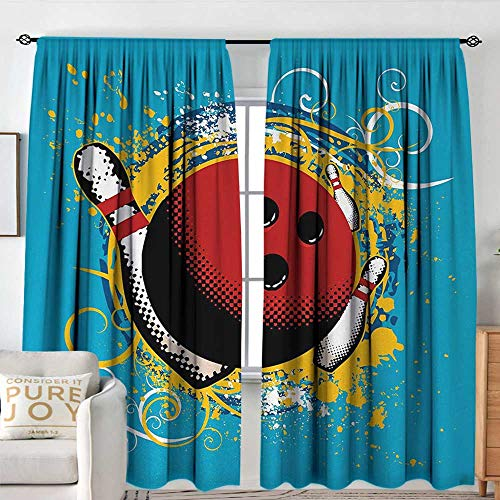 Blackout Curtains Bowling Party,Fun Hobby Retro Style Ball Floral Swirls with Color Splashes Pop Art,Blue Red Yellow,Rod Pocket Drapes Thermal Insulated Panels Home décor 54