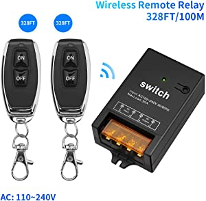 Wireless remote Relay AC 110V/120V/240V Wireless RF Switch with 328ft Long Range for Lights Ceiling and Fish Pool, 30A Relay with 2 Remote Controls and 1 Receiver