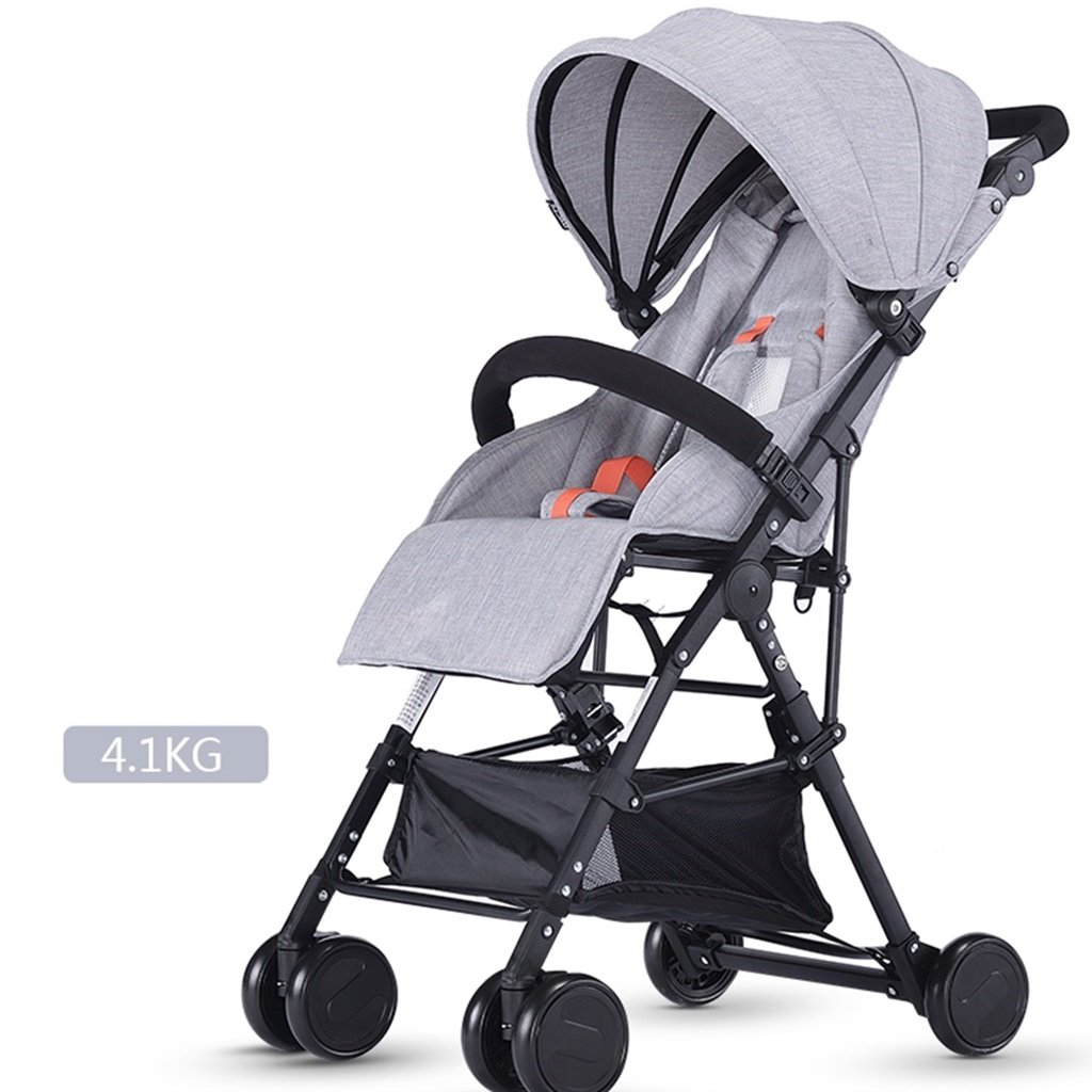 ベビーカート超軽量ポータブルと折りたたみ可能、座って寝ることができる子供用自転車、高地の赤ちゃんベビーカー1ヶ月-4歳のベビー4輪ベビートロリー (色 : グレー) B07DVBPTCGグレー