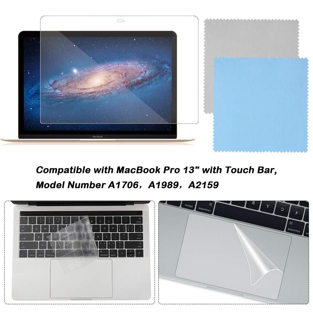 Full Protection Kit Compatible with 13 inch New MacBook Pro with Touch Bar, SourceTon Keyboard Cover, Screen Protector, Trackpad Protector, w/Free Cleaning Cloths (Model Number A1706,A1989,A2159)