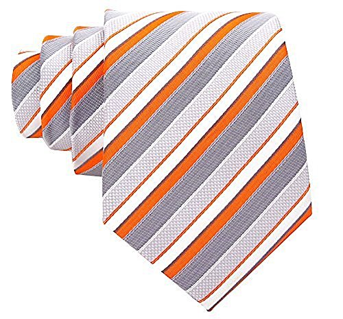 Striped Ties for Men - Woven Necktie - Orange