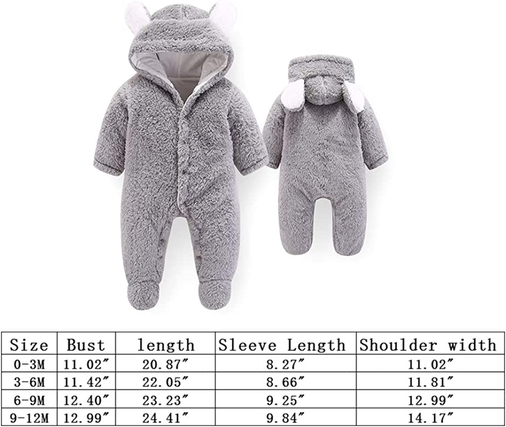 Neugeborene Baby Cartoon B/är Schneeanzug Wintermantel Fleece Kapuze Strampler Jumpsuit