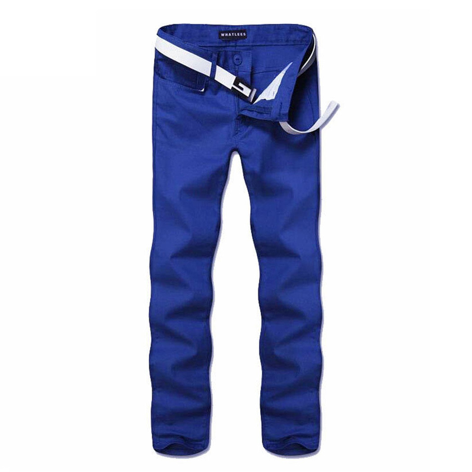 Toping Fine Pants Mens Fashion Elastic Straight Skinny Trousers Casual Fitted Pants Korean Style 451 Blue30