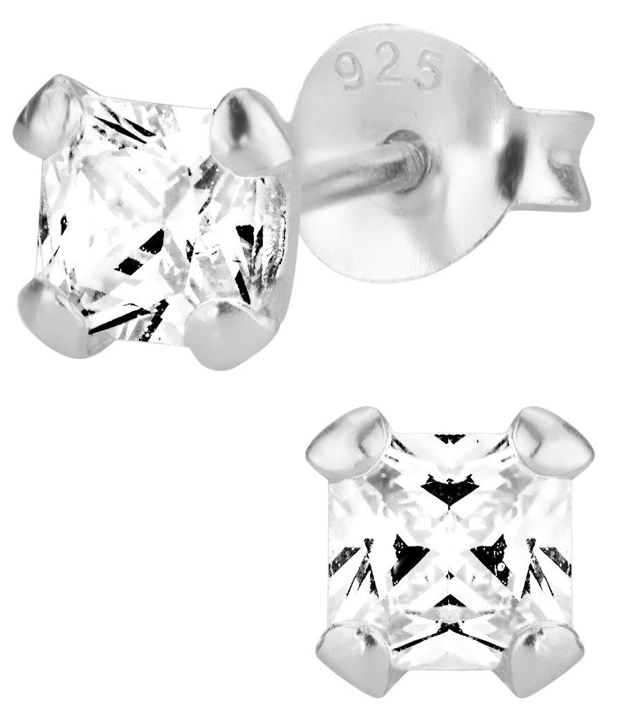 Hypoallergenic Sterling Silver Clear CZ Simulated Diamond Crystal Stud Earrings for Kids (Nickel Free)