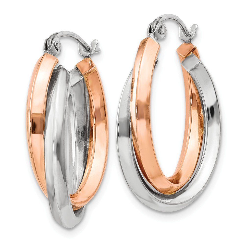 Mia Diamonds 14k Gold Rose and White Gold Polished Oval Tube Hoop Earrings