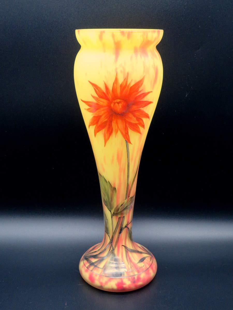 ドーム ナンシー Daum Nancy Lorrain銘 異色溶込硝子 ダリアの花 31cm 大型 花瓶 花器 飾壺 エミールガレ ミューラー シュナイダー mado B07R1H8S35