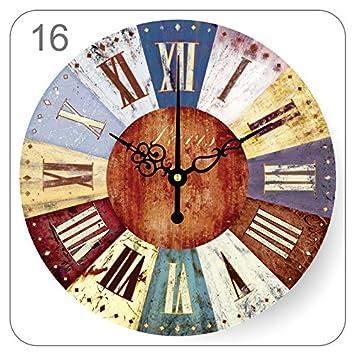Ping0fm Reloj de pared retro Continental creativo estilo mediterráneo salón dormitorio reloj de pared bar está decorado en antiguos relojes de cuarzo hacer ...