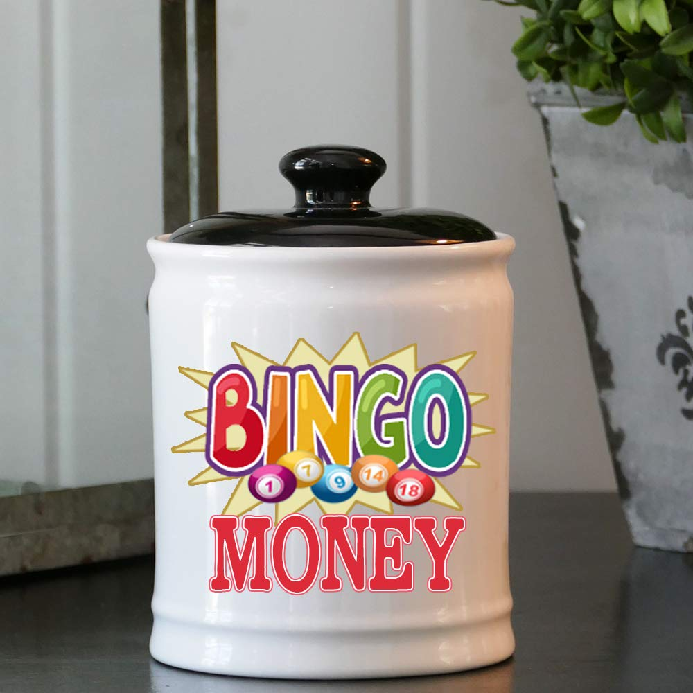 Cottage Creek Bingo Gifts Bingo Money Jar/Round Bingo Money Piggy Bank Bingo Chip Coin Bank Bingo Lover Gifts [White]