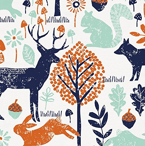 Carousel Designs Navy And Orange Woodland Animals Fabric By The Yard