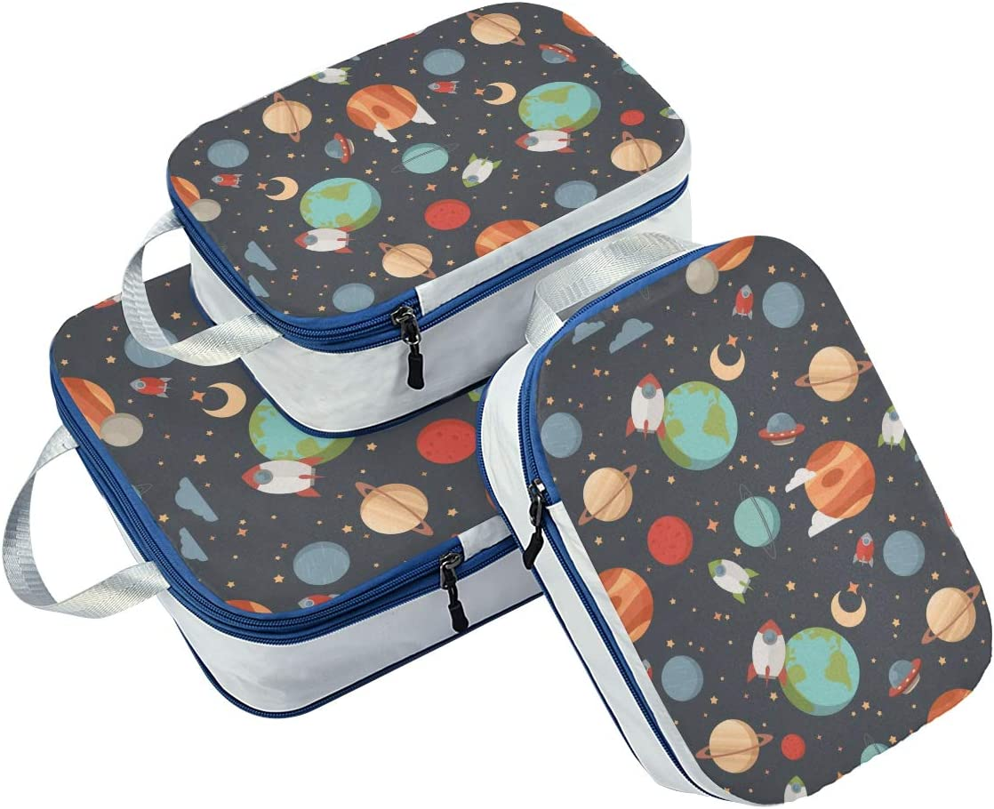 h Galaxy Stars 3 Set Packing Cubes,2 Various Sizes Travel Luggage Packing Organizers