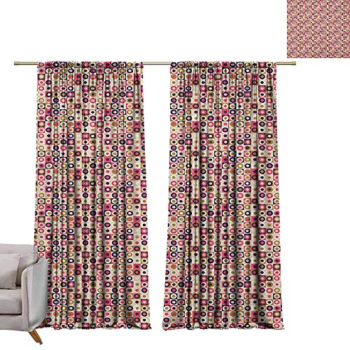 Bullseye Tattoo Designs - berrly Curtains Window Drapes Geometric,Grid Design Checkered Squares with Colorful Bullseye Circles Doodle Style Image, Multicolor W84 x L108 Blackout Window Curtain