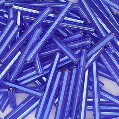 ~ DARK SAPPHIRE BLUE ~ Silver Lined Bugle Beads Czech Glass 25mm 1