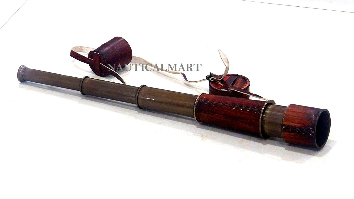20 Inch Ship Captain Brass Telescope with Spy Glass & Leather Case By Nauticalmart