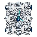 Deny Designs  Camilla Foss, Circles In Blue Ii, Quatrefoil Clock, Medium