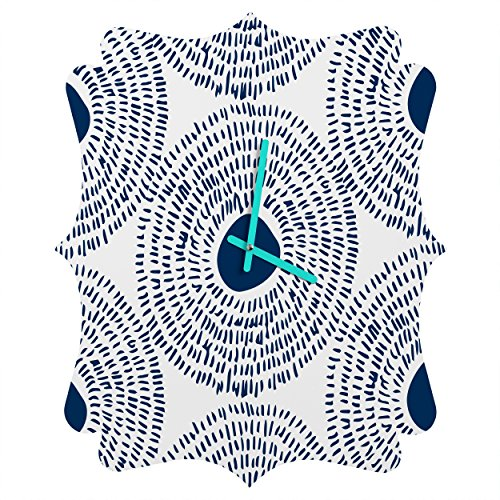 Deny Designs  Camilla Foss, Circles In Blue Ii, Quatrefoil Clock, Medium by Deny Designs