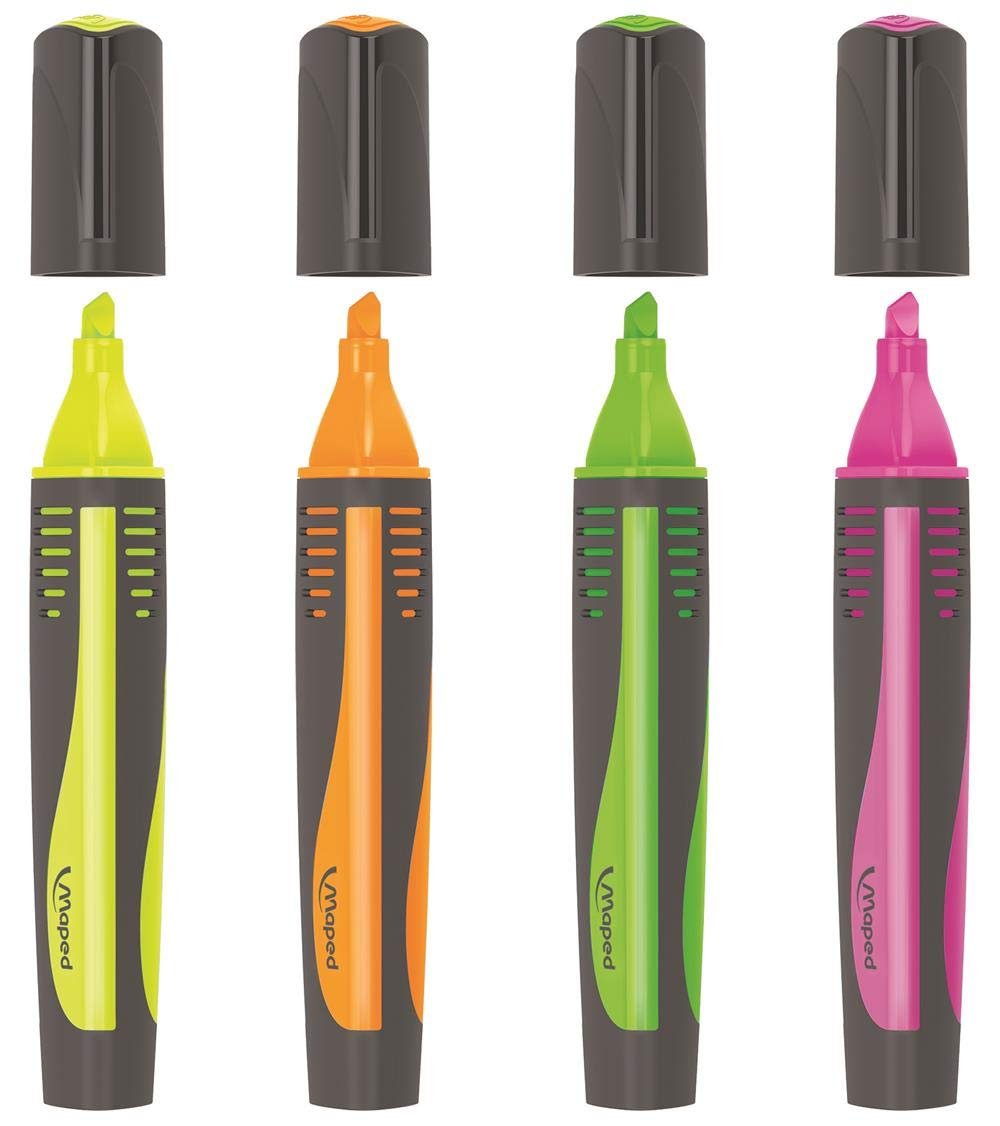 Assorted Colors 742947 Maped Fluo Peps Max Highlighter Pack of 4