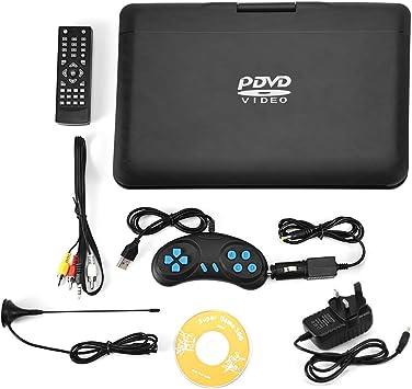 Reproductor de DVD, Reproductor de DVD portátil de 13,9 Pulgadas HD TV con Pantalla LCD giratoria Radio FM integrada batería Recargable Compatible con Tarjeta SD USB CD DVD: Amazon.es: Electrónica