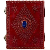 Handmade Genuine Leather Journal with Faux Gemstone Eco Friendly Unlined Pages Compact Travel Diary Writing Journal for Men and Women (Brown, 8''x 6''x 1'')