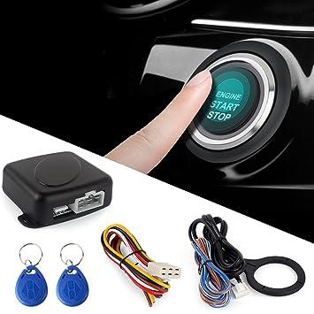 SODIAL Smart RFID Sistema de alarma para automovil Push Engine Start Boton de detencion Lock Ignition Inmobilizer con control remoto sin llave Go ...