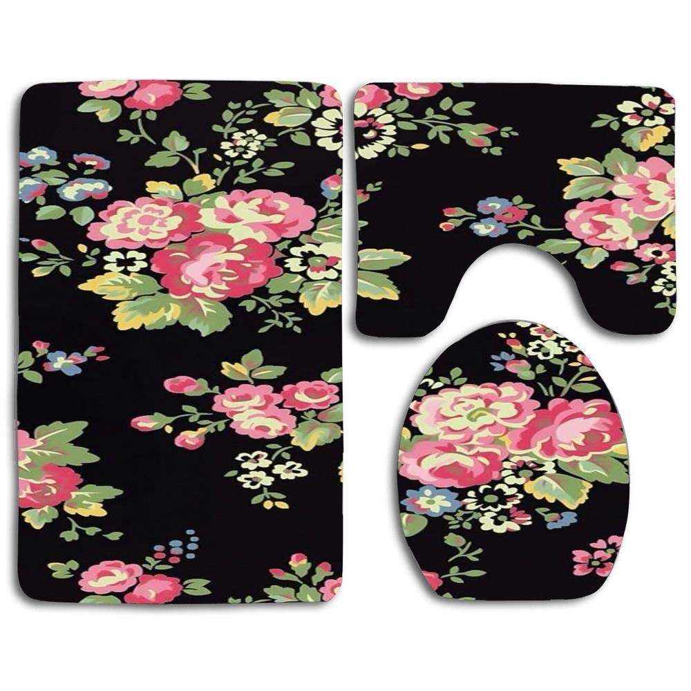 NEW MOMO 3 Pice Printing Toilet Seat Cover Anti-Skid Soft Warmer Decorate Bathroom Black and Pink Flower by NEW MOMO