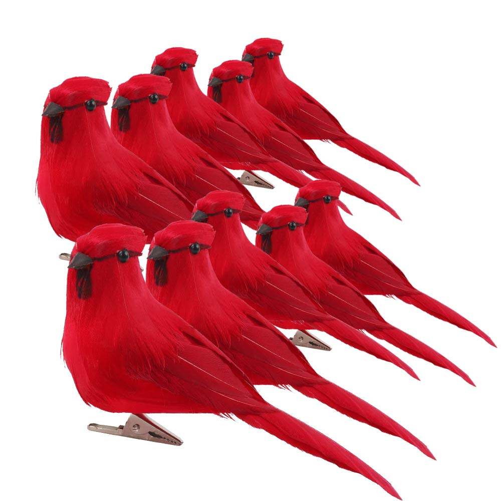 OUTUXED 10pcs 5inch Artificial Red Clip-on Cardinals Feathered Birds for Christmas Ornament Decorations, Arts and Crafts