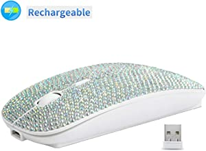 Bling Dazzling Rechargeable 2.4GHz Wireless Mouse Covered with Rhinestone Crystal, Slim Mouse with USB Receiver, Compatible with Notebook, PC, Laptop, Computer, MacBook,Great Gift idea for Her