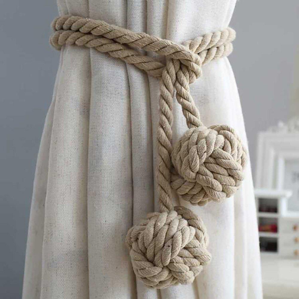 1Pair Handmade Cotton Curtain Tie Back Tiebacks Clip Tassels Window Rope Double Ball Beige Zhi Jin