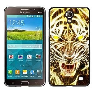 Cubierta protectora del caso de Shell Plástico    Samsung Galaxy Mega 2    Arte Rugido del le¨®n tigre del fuego Luz Amarilla @XPTECH