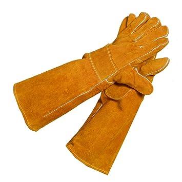 Guantes a prueba de fuego largos Costura de cuero a alta temperatura conveniente para el horno de la estufa Soldadura ...