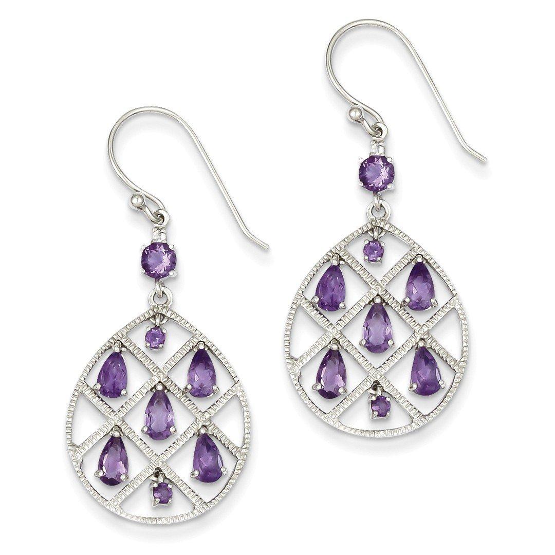 ICE CARATS 925 Sterling Silver Purple Amethyst Teardrop Drop Dangle Chandelier Earrings Fine Jewelry Ideal Mothers Day Gifts For Mom Women Gift Set From Heart