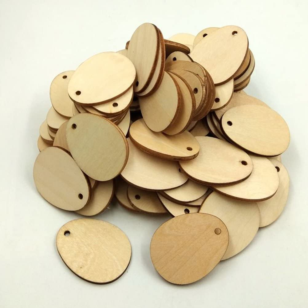 Healifty Wooden Eggs Wood Slices Discs with Holes for Craft DIY 40MM 100PCS