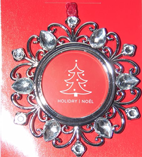 Studio Decor Round Bling Christmas Ornament Photo Frame Enamel Metal ()