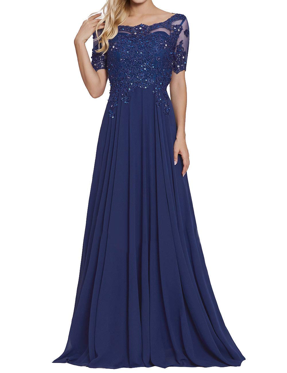 cbe0b8fbb3 tutu.vivi Appliques Beaded Chiffon Mother of The Bride Dress Short Sleeves  Lace Long Formal Evening Gowns Navy Blue Size14