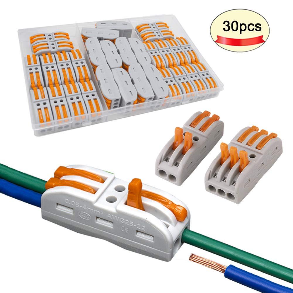Compact Connecteur Ressort Bornier FULARR/® 30Pcs Premium SPL-2 SPL-3 Levier-Ecrou Fil Connecteur Kit Conducteur Compact Fil Connecteurs