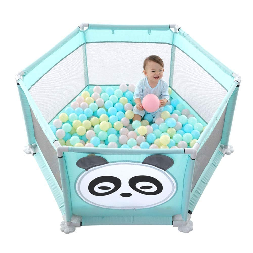 + ポータブル子供の遊び用フェンス赤ちゃんクロールマット幼児フェンスドロップフェンス6パネル、屋内と屋外の遊園地に最適 - 青68 Cm ## B07S8GG1GY