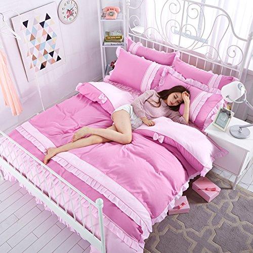 100% Cotton Bedding Set Korean Version Princess Style Double Bed Lace 4pc Duvet Cover Set Include:Quilt Cover1 Bed Sheet1 Pillowcase2-C Queen2