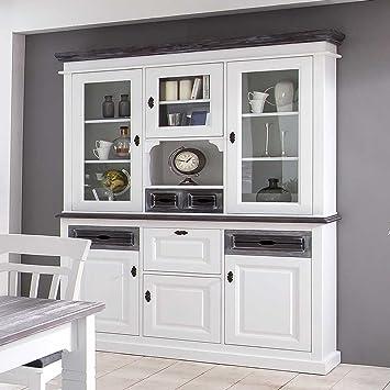 Buffetschrank Aus Fichte Weiß Grau Pharao24 Amazonde Küche Haushalt