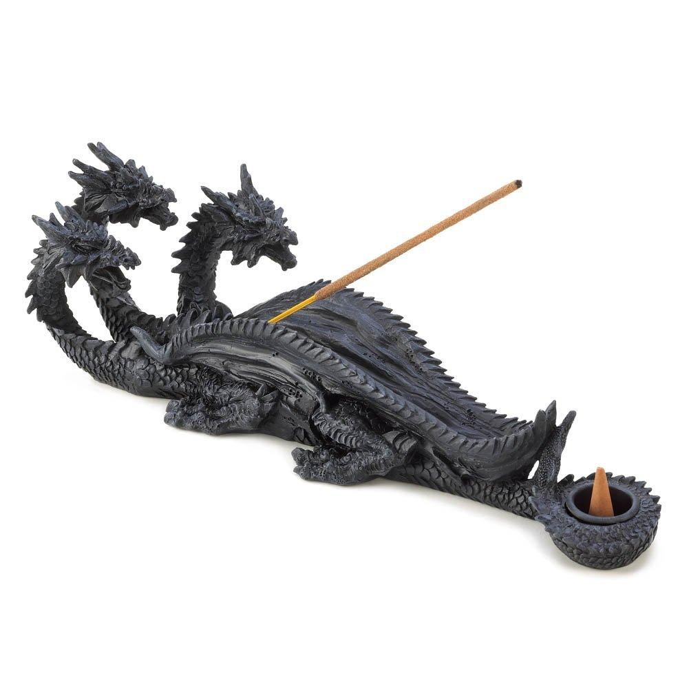 Incense Burner Holder, Resin Three Headed Dragon Incense Burner Dragon Crest