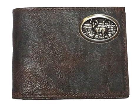bb4666b0d28b Custom Buck Deer Chocolate Bi-fold Harness Leather Wallet with Flip ...