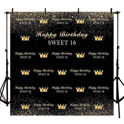 MEHOFOTO Sweet 16 Black and Gold Crown Photo Background Happy Birthday Party Decorations Banner Backdrops for Photography -