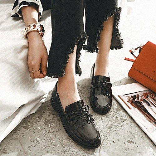 Upper Shoes Black On Women's Simple Low Shoes Mee Heel Bow Court Block Slip zI7qRzxndw